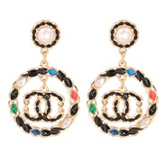 ( Color) occidental style fashion temperament ear stud color personality all-Purpose long style Earring Alloy diamond ea