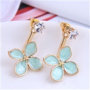 Korean style fashion  sweetOL color four leaf personality woman ear stud