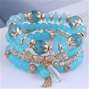 Korean style fashion  concise crystal beads multilayer temperament woman bracelet