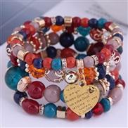 occidental style trend  Bohemia noble wind mash up Metal Peach heart temperament multilayer bracelet