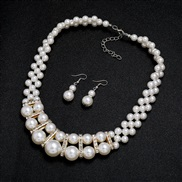 (Pearl )Korean style fashion bride imitate Pearl necklace earrings set woman short style all-Purpose elegant ornament cl