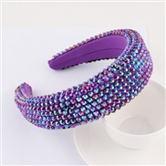 (purple)occidental style super fully-jewelled eadband lady thick fashion width eadband pure color Cloth head belt