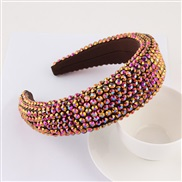 (color )occidental style super fully-jewelled eadband lady thick fashion width eadband pure color Cloth head belt
