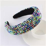 ( Dazzle )occidental style super fully-jewelled eadband lady thick fashion width eadband pure color Cloth head belt