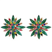 ( green) occidental style temperament fashion all-Purpose color flowers ear stud Alloy diamond brief earrings