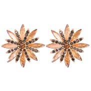( brown) occidental style temperament fashion all-Purpose color flowers ear stud Alloy diamond brief earrings