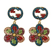 ( Color) occidental style arring temperament all-Purpose personality color flowers ear stud Alloy diamond earrings