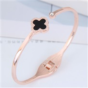 occidental style fashion  Metal concise sweet four clover opening personality woman bangle