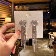 ( Silver needle )silver Korea temperament fully-jewelled love earrings long style tassel earring fashion exaggerating Ea