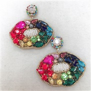 (E)occidental style big lips ear stud exaggerating woman long style embed colorful diamond earring temperament Earr
