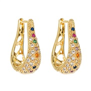 ( Color)fashion geometryU hollow embed color zircon earrings woman  occidental style personality trend