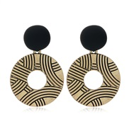 occidental style fashion Metal geometry Round exaggerating ear stud