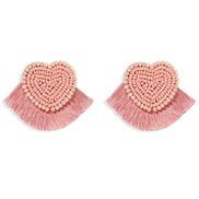 ( Pink)occidental style personality exaggerating Peach heart pure handmade beads earring short style Cloth tassel ear st