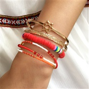 (SZ   red(B_Y +B_Y +B))occidental style gold geometry bangle woman multilayer beads mash up color beads bracelet
