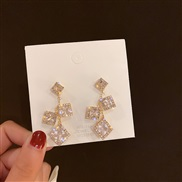 ( Silver needle  square )silver occidental style geometry square Rhinestone earrings fashion earring wind temperament Ea