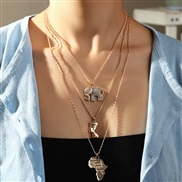 (NZjinse) occidental style  personality multilayer  brief Alloy elephant map necklace