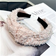 ( Pink)Autumn and Winter style feather Pearl eadband pure color sweet width head Korean style woman head