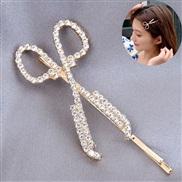 ( gold) Korean style fashion sweet woman diamond creative samll Scissors personality Word hair clip hair clip