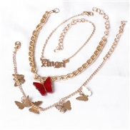 ( red)occidental style  butterfly brief Anklet woman personality creative three necklace set Alloy butterfly