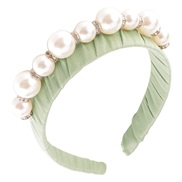 ( greenPearl )occidental style Pearl Rhinestone Headband big samll Pearl Headband temperament Cloth handmade beads