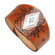 ( brown) Nation retro wind atmospheric pattern Cowhide bangle  real leather bracelet