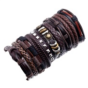 occidental style man Cowhide braceletdiy retro multilayer weave set