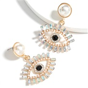 (AB color)personality colorful diamond series Alloy diamond embed Pearl Acrylic eyes earring occidental style earrings w