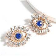 ( white)personality colorful diamond series Alloy Acrylic diamond eyes earrings woman occidental style fashion temperame