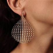 (sku)occidental style retro exaggerating gold drop fully-jewelled ear stud