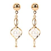 ( Gold)occidental stylefauxearl earring  drop gold earrings   earring arring woman F