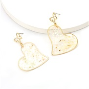 ( white)personality creative heart-shaped resin embed color sequin Alloy bag butterfly earring occidental style earrings