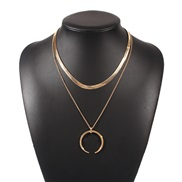 ( Gold)occidental style fashion temperament Double layer pendant necklace  creative chain woman