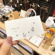 ( Silver needle Silver)silver super fully-jewelled butterfly ear stud set Korea samll arring