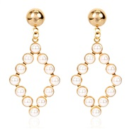 ( Gold)occidental style personality brief geometry Pearl ear stud  temperament all-Purpose hollow earrings earring woman