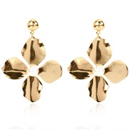 ( Gold)occidental style atmospheric Metal personality brief earrings  retro Alloy flowers ear stud arring woman F