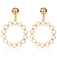 ( Gold)occidental style Alloy embed Pearl arring  brief personality exaggerating geometry Round earrings F