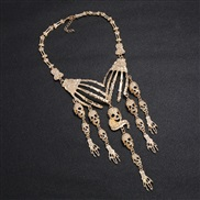 ( Gold)occidental style claw clavicle chain retro exaggerating multilayer skull necklace