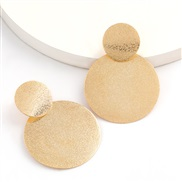 ( Gold)fashionins wind personality brief multilayer Round frosting Alloy earrings woman occidental style temperament Ear