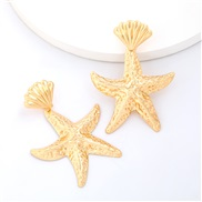 ( Gold)personality Hawaii wind Alloy starfish Shells earrings woman occidental style trend temperament
