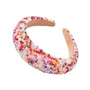 (F )F new thick Headband  occidental style Street Snap same style fashion handmade crystal beads color