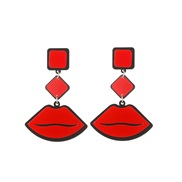 occidental style exaggerating fashion temperament ear stud woman personality color lips earring  all-Purpose