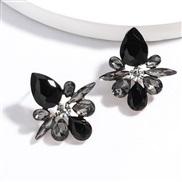 ( black)occidental style exaggerating Alloy diamond Rhinestone fully-jewelled geometry earrings woman retro super woman