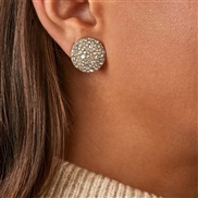 ( white) fashion fully-jewelled ear stud aub same style temperament brilliant Round earrings woman