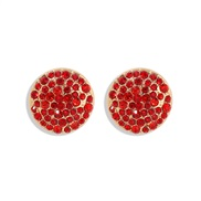 ( red) fashion fully-jewelled ear stud aub same style temperament brilliant Round earrings woman
