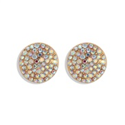 (AB color) fashion fully-jewelled ear stud aub same style temperament brilliant Round earrings woman