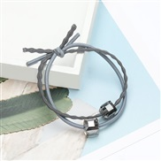 fashion brief all-Purpose Double layer leather crystal rope woman Korea head rope occidental style style