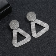 ( Silver)occidental style exaggerating Metal earring brief geometry triangle Alloy earrings woman fashion personality re