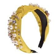 ( yellow)Korean style big samll Pearl eadband color width eadband Cloth all-Purpose woman