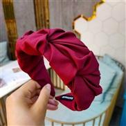 ( Red wine)Korea retro high-end Cloth pattern width eadband  pure color eadband  super flower style