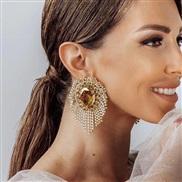 ( Gold)exaggerating occidental style wind Alloy diamond Rhinestone drop glass diamond tassel earrings woman super claw c